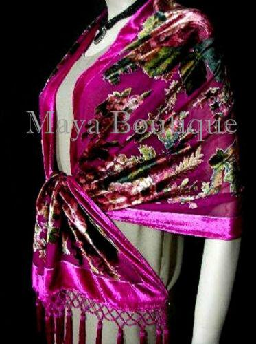 Fuschia-Wrap-Scarf-Shawl-Silk-Burnout-Velvet-English-Rose-Beaded-Maya-Matazaro
