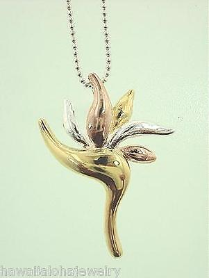 22mm 3-Tone Gold Plated 925 STER Silver Hawaiian Bird of Paradise Flower Pendant Bird Pendant Gold Plated Jewelry