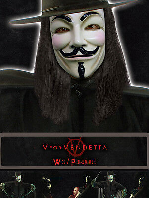 V FOR VENDETTA Guy Fawkes Wig Licensed Product Adult NEW (Superhero Masks For Adults)
