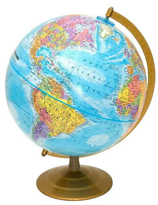 Globemaster, Raised-Relief, World Globe | Bright Blue Design | Fully Updated (World Relief Map)