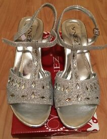 Brand new in box silver glittery diamanté sandals size 2