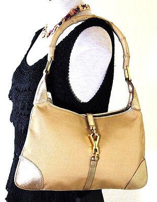 Vintage GUCCI Golden Canvas & Leather Jackie O Flat Bamboo Handle Hobo Shoulder