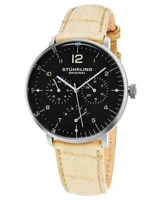 Stuhrling 733 03 Vitesse Quartz Day and Date Beige Leather Strap Mens Watch