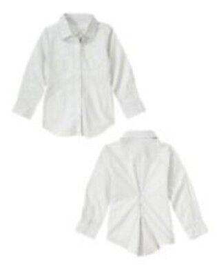 NWT Gymboree Girl's Best Friend White Dress Shirt With Pocket Size 4 &