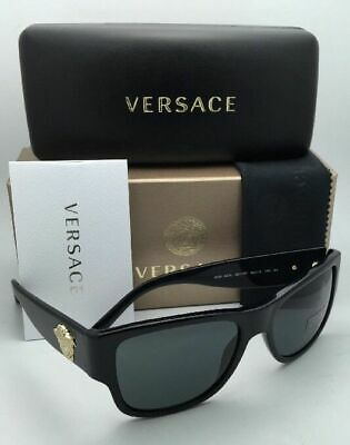 New VERSACE Sunglasses VE 4275 GB1/87 58-18 140 Black & Gold Frames Grey Lenses