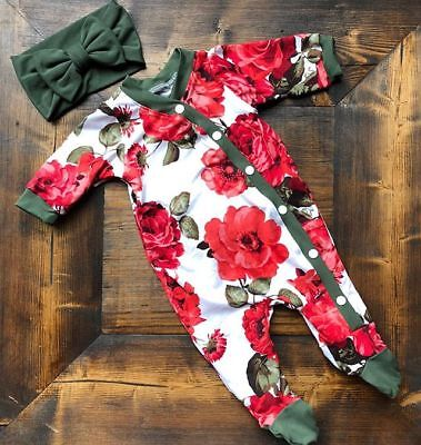 Newborn Baby Girls Flower Romper Bodysuit Jumpsuit Headband Outfits Clothes - Outfits Girls