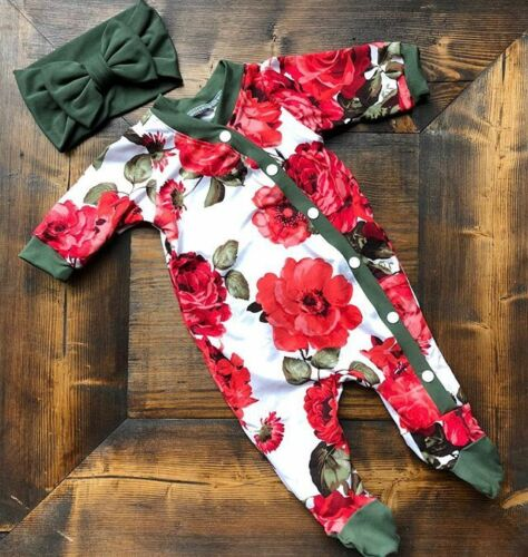 Newborn Baby Girls Flower Romper Bodysuit Jumpsuit Headband