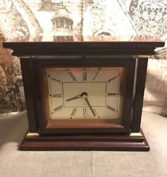 Quartz Mahogany Wood Finish Spinning Analog Desk Clock - Gold Trim