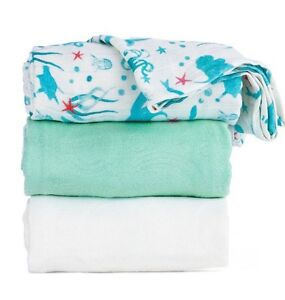 Naida Tula Baby Blanket Set - Mermaid Print - Nautical