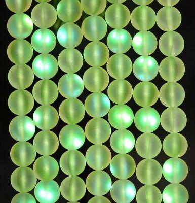 "6MM Green Frosted Matte Mystic Aura Quartz(Glass) Gemstone Round Loose Beads 15"""
