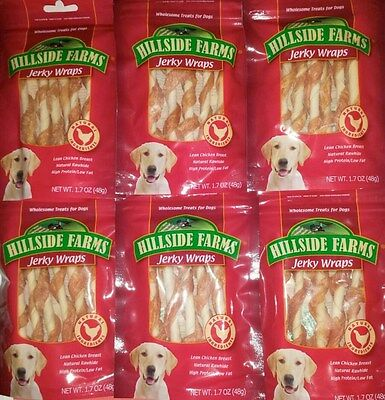 HILLSIDE FARMS JERKY WRAPS NATURAL CHICKEN DOG TREATS 6 PACKS