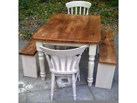 thick top 4ft x 3ft SHABBY CHIC FARMHOUSE TABLE 2 CHAIRS 2 benches SOLID heavy TABLE