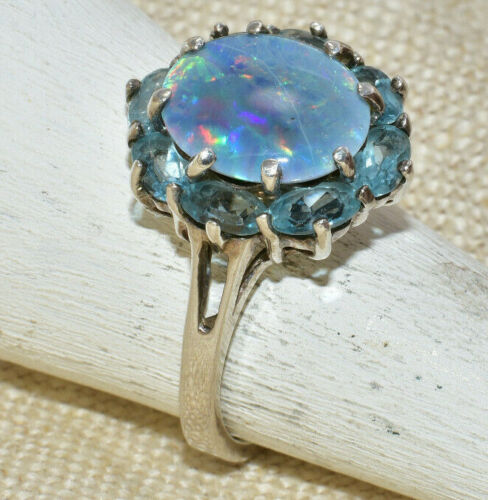 Vintage Sterling Silver Opal Doublet Aquamarine Halo Ring