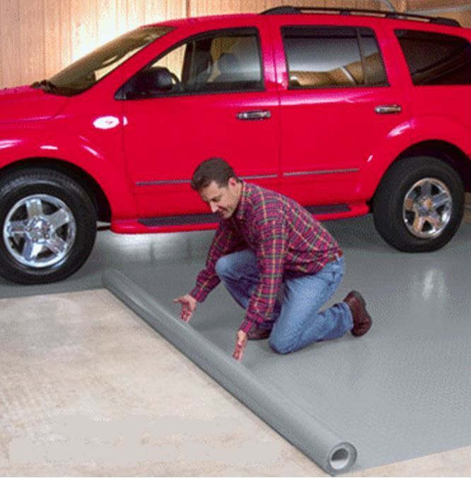 Protection Polyvinyl Floor Garage Universal FlooSlate Mat Grey Oil Salt Acid