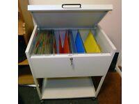 Filing cabinet, metal lockable wheeled trolley, list price was £139.50 +binders
