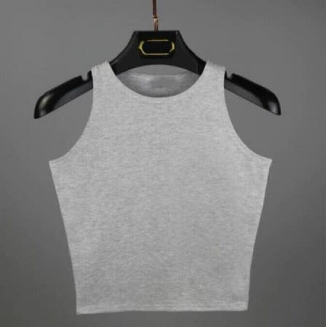 Women Basic Casual Stretch Crop Cropped Tank Top Sleeveless Shirt S  L