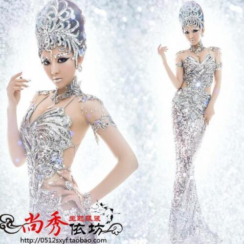Купить Unbranded - Sexy Womens Dress Sequins Fishtail Long Bling Sliver Wedding Toast Party Gown SY