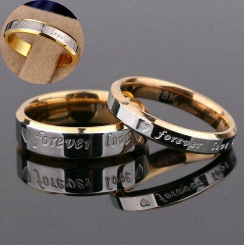 Women Love Couple Wedding Men Forever Promise Band Titanium