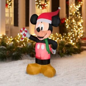 new disney christmas airblown inflatable santa mickey mouse with candy cane 42