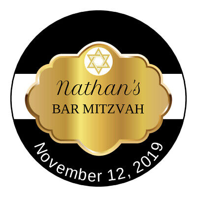 24 2.5 inch Bar Mitzvah Personalized Favors Tags/Stickers Gold Black sticker](Bar Mitzvah Favor)