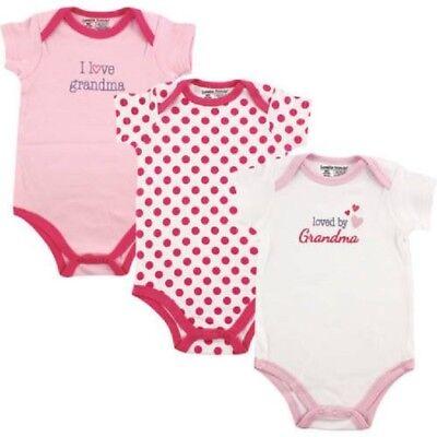 Luvable Friends Baby Girls Loved By Grandma, I Love Grandma/Dot Bodysuits 0-3M