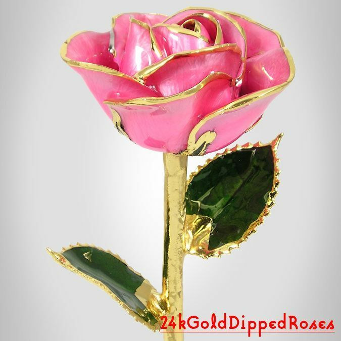 "24k Gold Dipped Pink Real Rose - 11"" (Free Christmas Gift Box)"