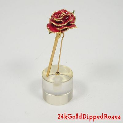"3"" 24k Gold Dipped Red Real Rose in Stand (Free Valentine's Day Gift Box)"