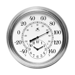 Infinity Instruments 16 Indoor Outdoor Thermometer Wall Clock NEW