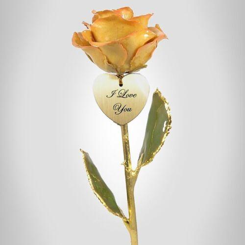 24k Gold Dipped Rose Cream / Pink Rose &  Heart (Free Christmas Gift Box)