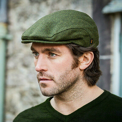 Tweed Flat Cap   Green   Mens Irish Wool Hat By Mucros Weavers  Twc055