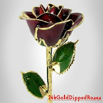 24k Gold Dipped Burgundy Real Rose (Free Valentine's Day Gift Box)