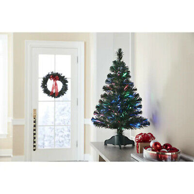 New Holiday Living Color Changing 2.5' Fiber Optic Green Christmas Tree