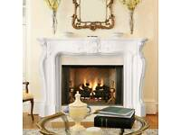 Stevensons-Stone Fireplace Surround and marble hearth and base