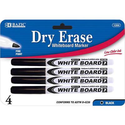 Fine Tip Dry Erase Whiteboard Black Marker 4 PCS Tip Whiteboard Marker