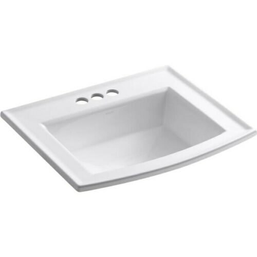 KOHLER Archer White Drop-In Rectangular Bathroom Sink with Overflow