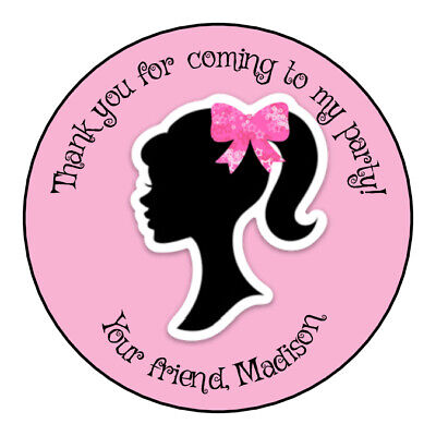 24 BARBIE Birthday SILHOUETTE Pink LABELS STICKERS 2.5