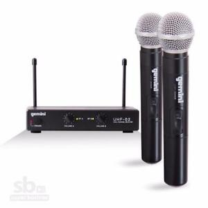 Gemini UHF Series UHF-02M-S34  Dual Handheld Wireless UHF Microphone with upto 150ft Operating Range
