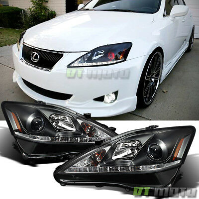 For 2006-2010 Lexus IS250 IS350 Black LED DRL Projector Headlights Left+Right