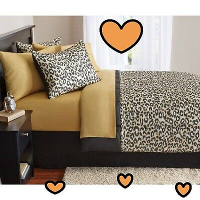 Cheetah Print Bedding (💗 ALL SIZES Leopard Cheetah Print Bed-in-a-Bag Bedding Comforter Sheets Shams )