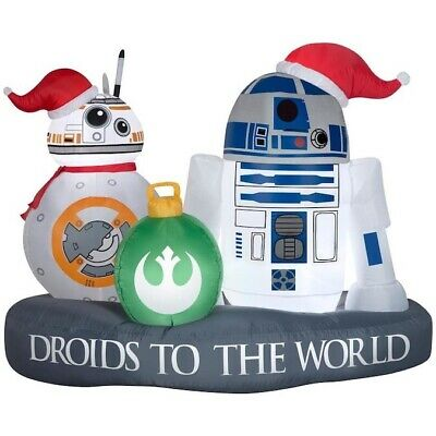 RARE Inflatable Star Wars R2-D2 BB-8 Droids to the World Holiday Christmas Scene