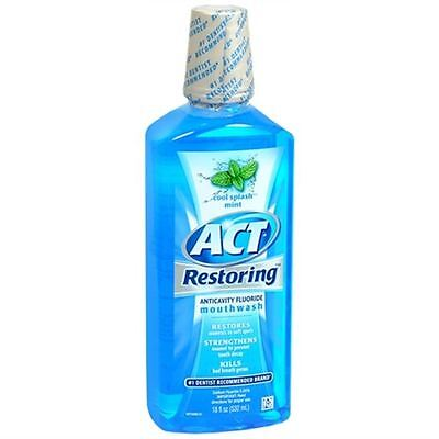 ACT Restoring Anticavity Fluoride Mouthwash Cool Splash Mint 18 oz (Pack of 2)