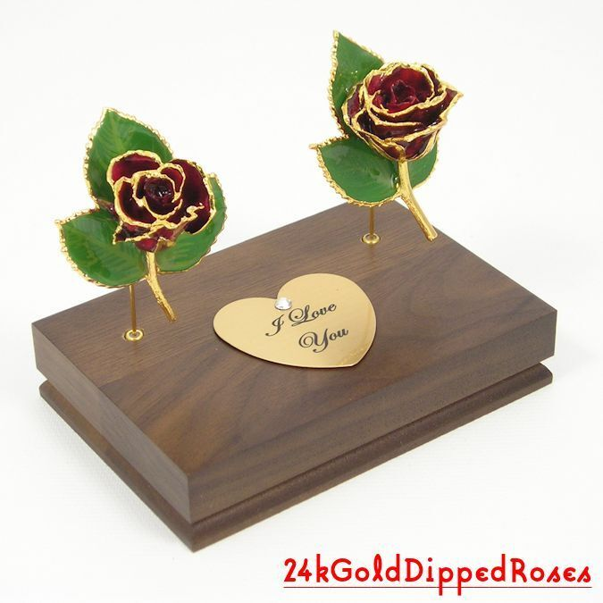 """Two 3"""" 24k Gold Dipped Burgundy Roses & Stand (Free Christmas Gift Box)"""