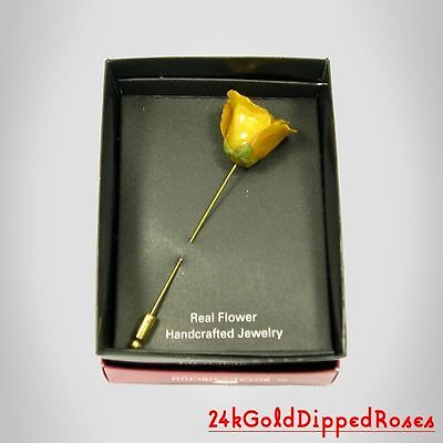 3 24k Gold Dipped Yellow Rose Stick Pins (Free Mother's Day Gift Boxes)