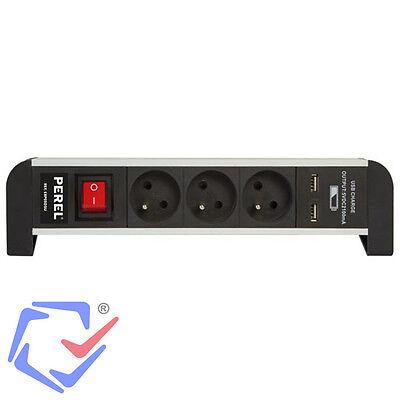 3-Fach Tisch-Steckdosenleiste 2 USB Port Schutzkontakt Kinderschutz Schalter +