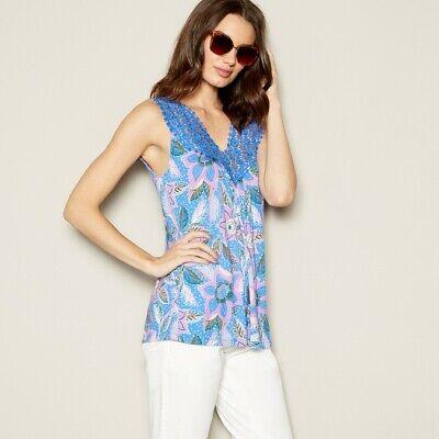 WOMENS LADIES Mantaray - Purple Crochet Trim Vest Top - Sizes S, M, L, XL - NEW Trim Womens Vest