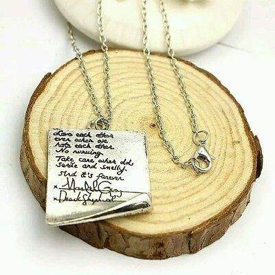 Free Shipping Grey's Anatomy inspired Meredith & Derek, MerDer post it Necklace