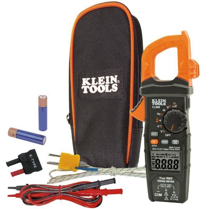 Klein Tool CL800 Digital Clamp Meter Auto-Ranging 600A AC/DC