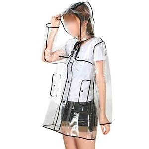 Clear Vinyl SeeThrough Raincoat Transparent Waterproof PVC Outdoor Jacket Poncho