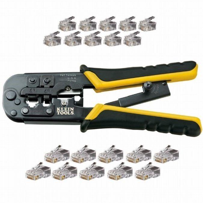 Klein Tool Modular Plug Installation Kit For RJ22, RJ11/RJ12, & RJ45 Connectors