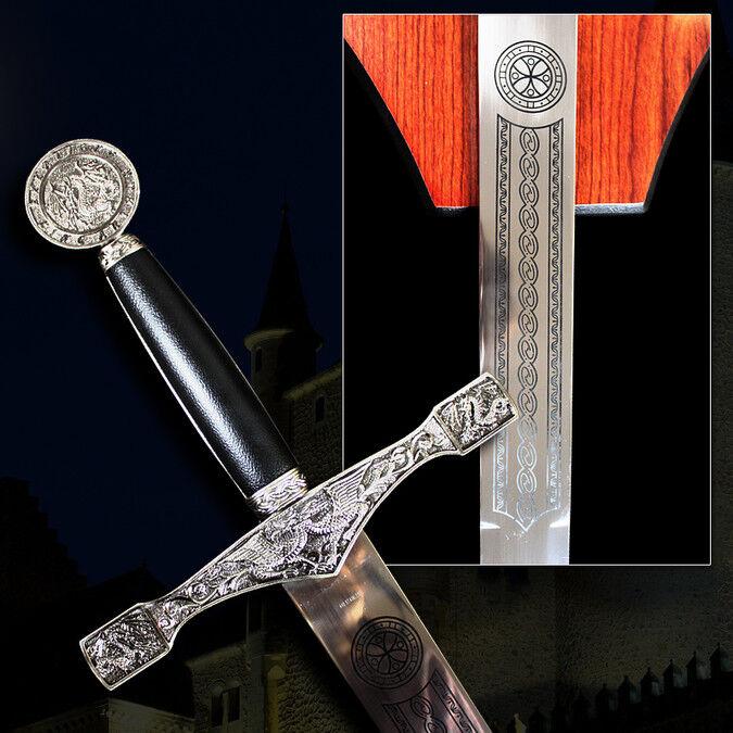 "45"" Medieval Excalibur King Arthur Crusader Sword with Plaque Chrome Brand New"